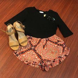 Paisley orange and pink ruffle shorts